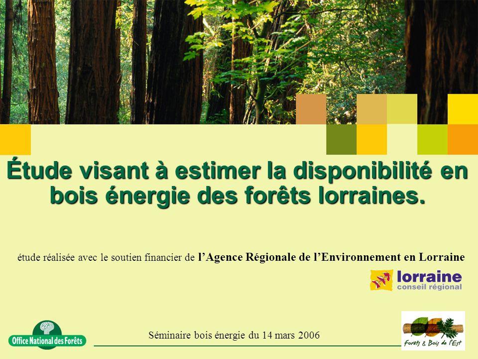 Étude visant à estimer la disponibilité en bois énergie des forêts lorraines. étude réalisée avec le soutien financier de lAgence Régionale de lEnviro