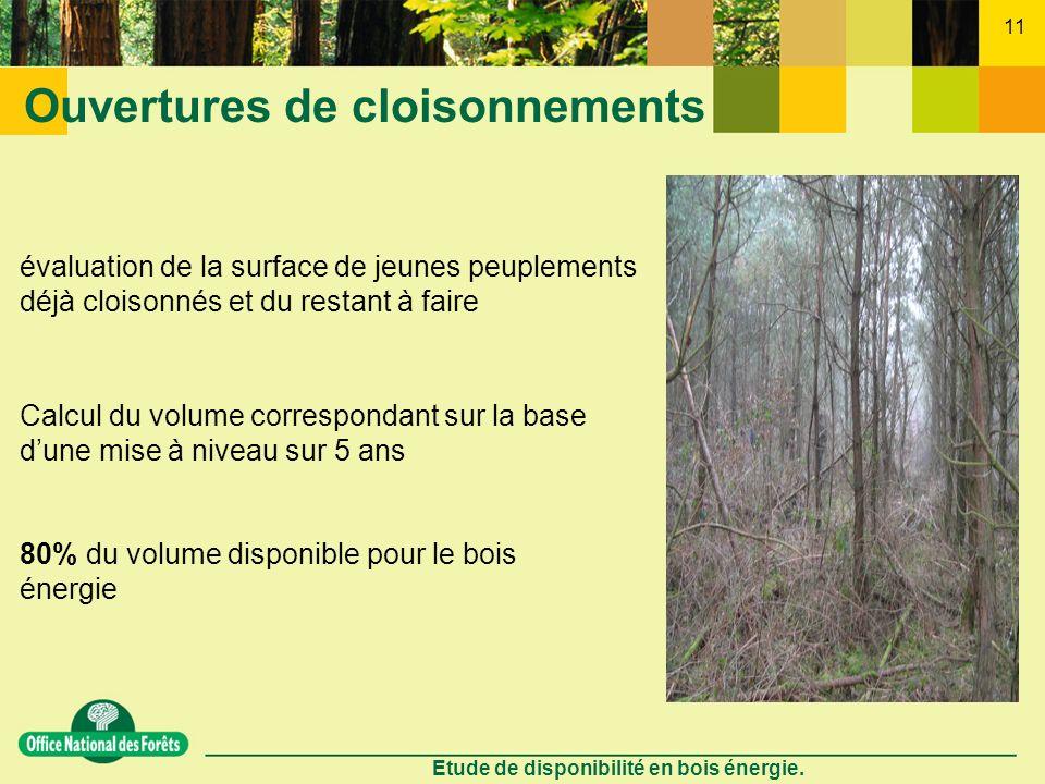 Etude de disponibilité en bois énergie. 11 Ouvertures de cloisonnements évaluation de la surface de jeunes peuplements déjà cloisonnés et du restant à