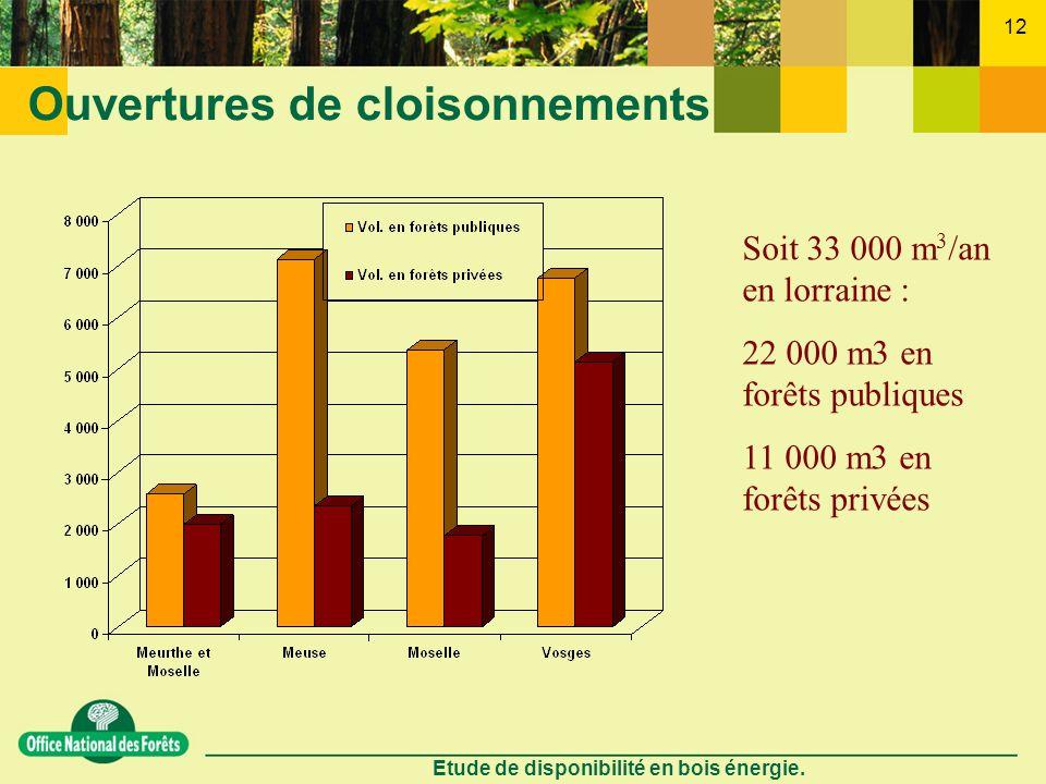 Etude de disponibilité en bois énergie. 12 Ouvertures de cloisonnements Soit 33 000 m 3 /an en lorraine : 22 000 m3 en forêts publiques 11 000 m3 en f