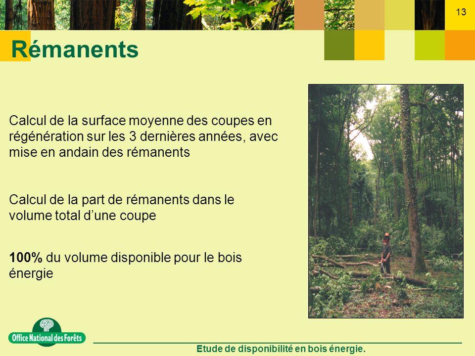 Etude de disponibilité en bois énergie. 13 Rémanents Calcul de la surface moyenne des coupes en régénération sur les 3 dernières années, avec mise en