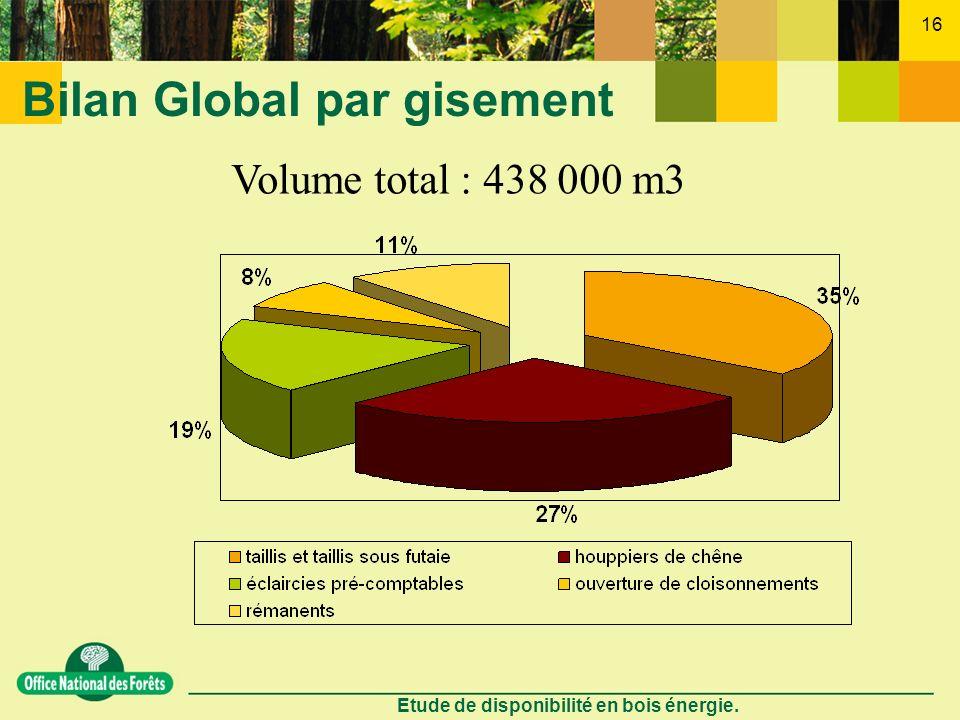 Etude de disponibilité en bois énergie. 16 Bilan Global par gisement Volume total : 438 000 m3