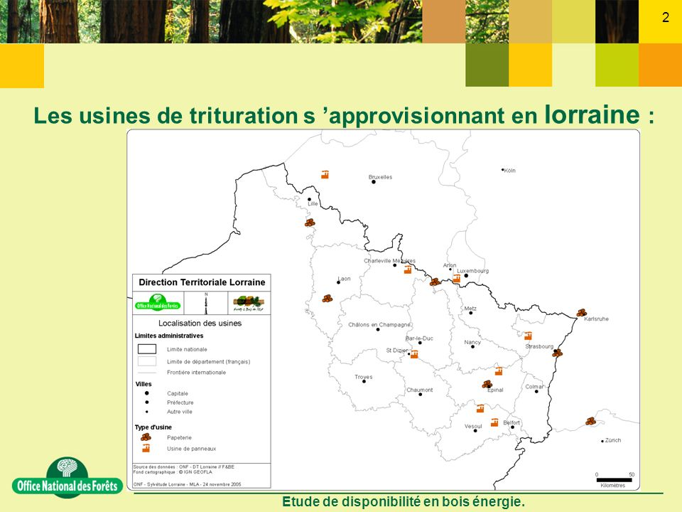 Etude de disponibilité en bois énergie. 2 Les usines de trituration s approvisionnant en lorraine :