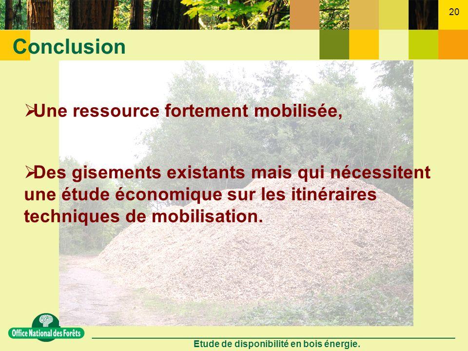 Etude de disponibilité en bois énergie. 20 Conclusion Des gisements existants mais qui nécessitent une étude économique sur les itinéraires techniques
