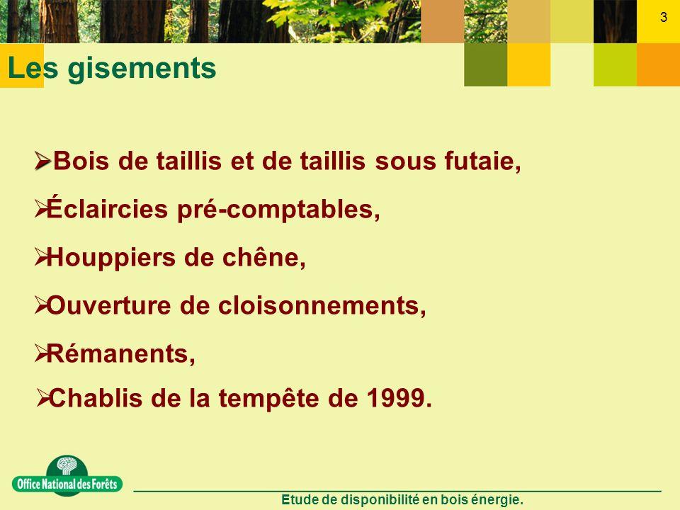 Etude de disponibilité en bois énergie. 3 Les gisements Chablis de la tempête de 1999. Houppiers de chêne, Éclaircies pré-comptables, Ouverture de clo