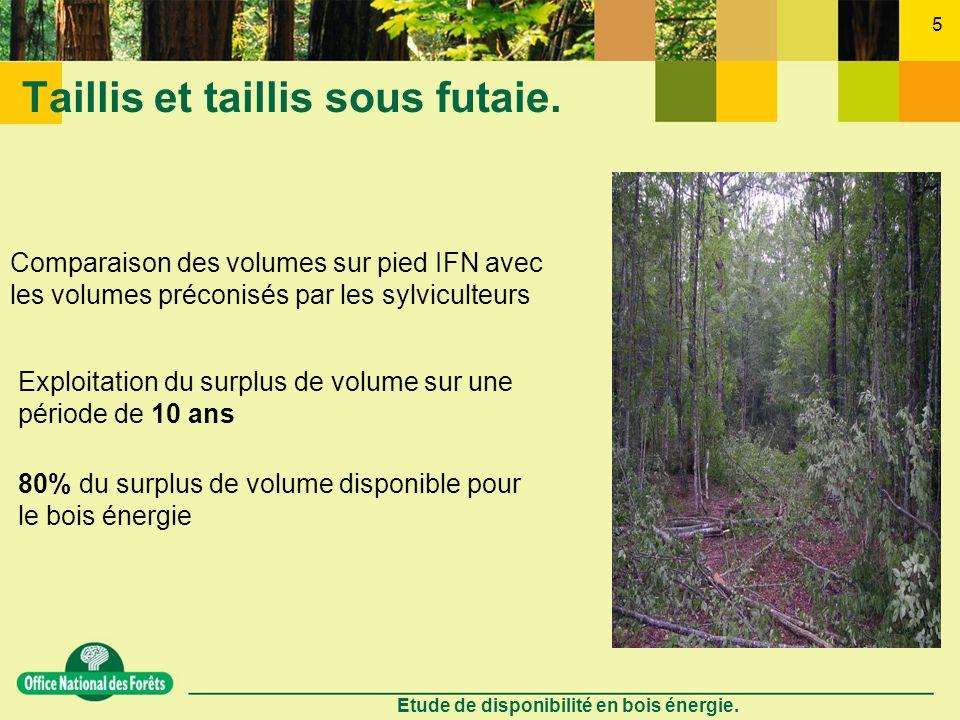 Etude de disponibilité en bois énergie. 5 Taillis et taillis sous futaie. Comparaison des volumes sur pied IFN avec les volumes préconisés par les syl