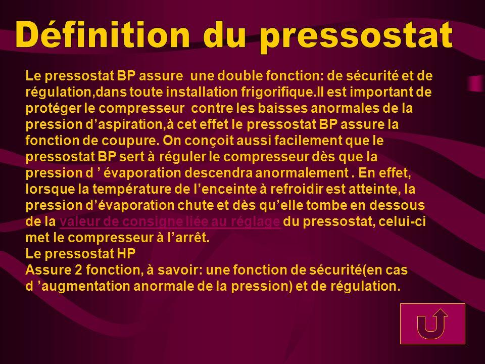 Le pressostat BP assure une double fonction: de sécurité et de régulation,dans toute installation frigorifique.Il est important de protéger le compres