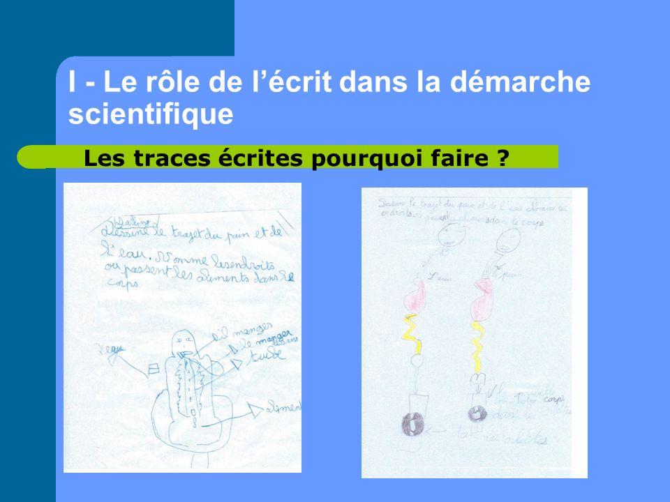 I - Le rôle de lécrit dans la démarche scientifique Les traces écrites pourquoi faire