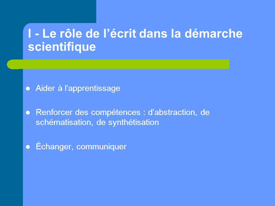 I - Le rôle de lécrit dans la démarche scientifique Aider à lapprentissage Renforcer des compétences : dabstraction, de schématisation, de synthétisation Échanger, communiquer