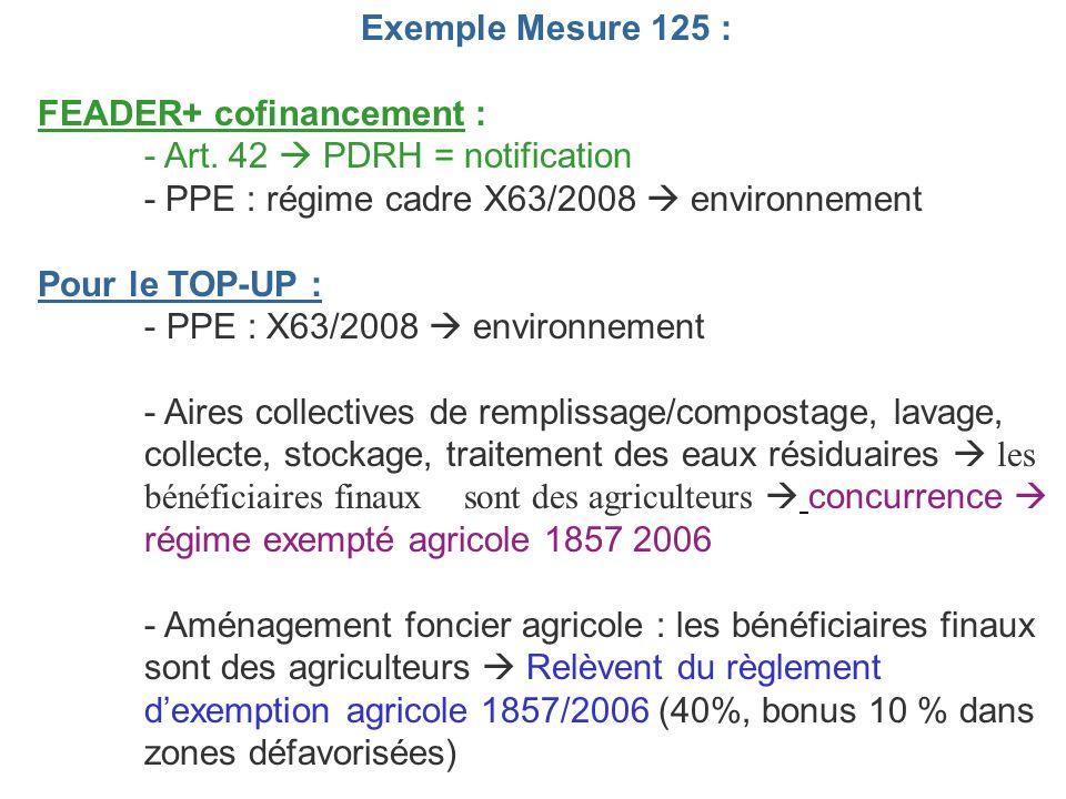 Exemple Mesure 125 : FEADER+ cofinancement : - Art. 42 PDRH = notification - PPE : régime cadre X63/2008 environnement Pour le TOP-UP : - PPE : X63/20