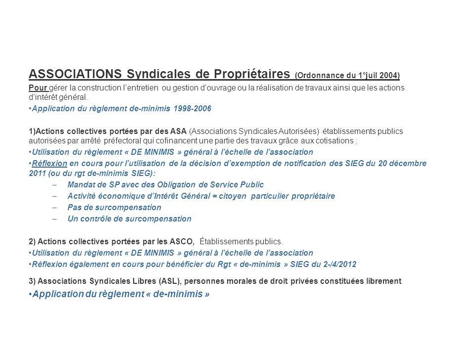 ASSOCIATIONS Syndicales de Propriétaires (Ordonnance du 1°juil 2004) Pour gérer la construction lentretien ou gestion douvrage ou la réalisation de tr