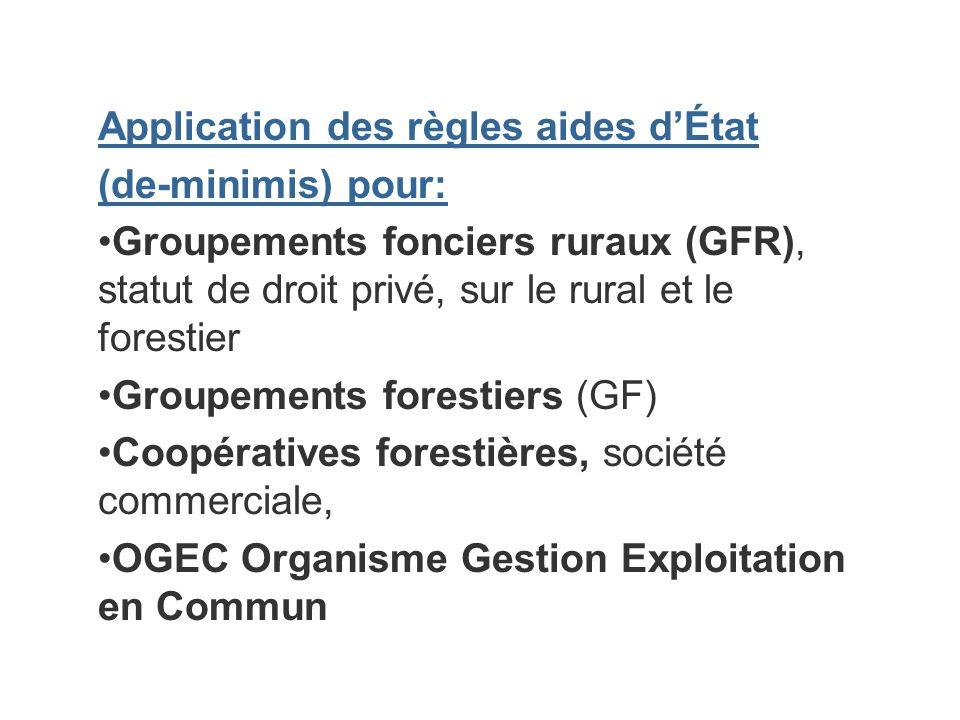 Application des règles aides dÉtat (de-minimis) pour: Groupements fonciers ruraux (GFR), statut de droit privé, sur le rural et le forestier Groupemen
