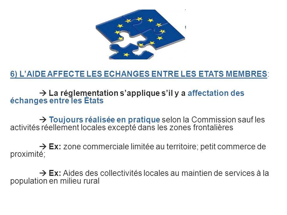 6) LAIDE AFFECTE LES ECHANGES ENTRE LES ETATS MEMBRES: La réglementation sapplique sil y a affectation des échanges entre les États Toujours réalisée