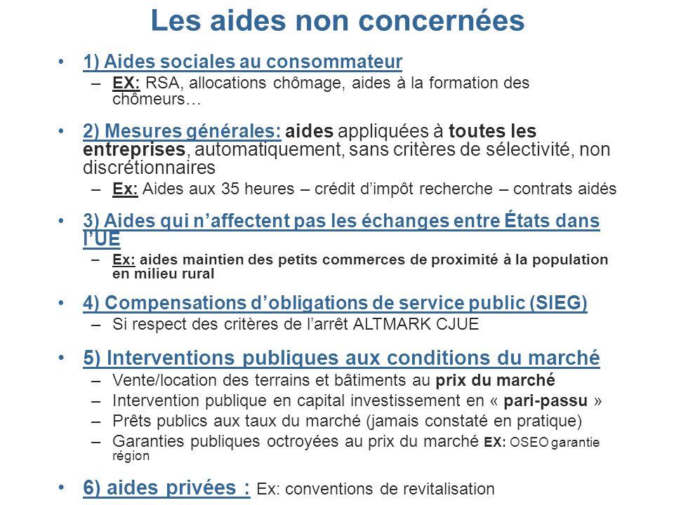 Les aides non concernées 1) Aides sociales au consommateur –EX: RSA, allocations chômage, aides à la formation des chômeurs… 2) Mesures générales: aid