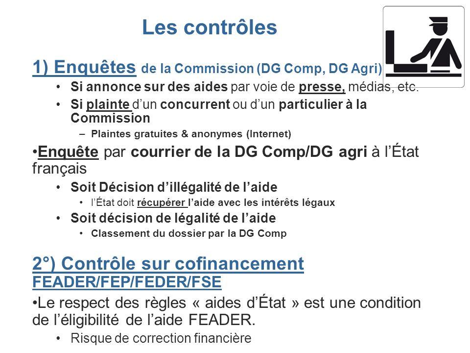 1) Enquêtes de la Commission (DG Comp, DG Agri) Si annonce sur des aides par voie de presse, médias, etc. Si plainte dun concurrent ou dun particulier