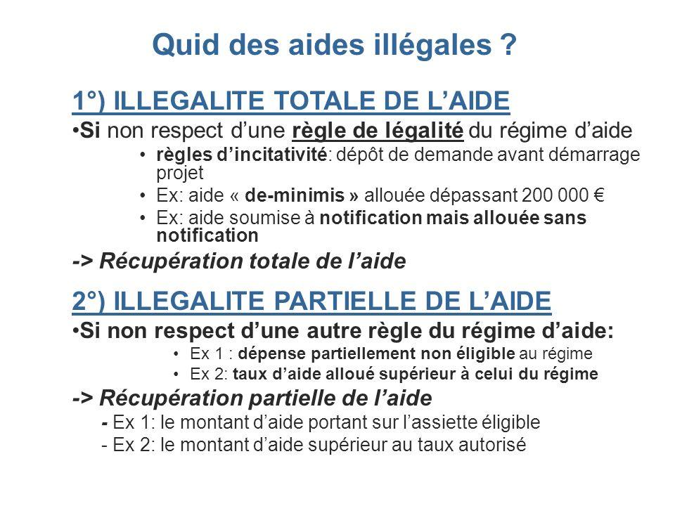 1°) ILLEGALITE TOTALE DE LAIDE Si non respect dune règle de légalité du régime daide règles dincitativité: dépôt de demande avant démarrage projet Ex:
