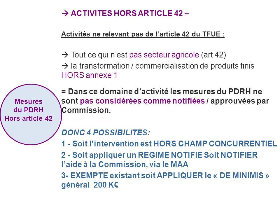 ACTIVITES HORS ARTICLE 42 – Activités ne relevant pas de larticle 42 du TFUE : Tout ce qui nest pas secteur agricole (art 42) la transformation / comm