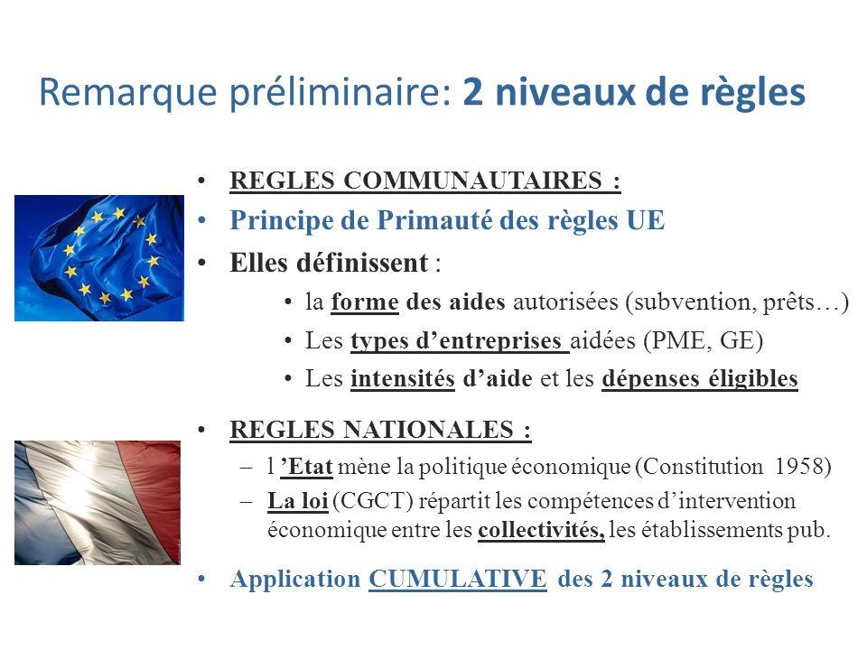 Remarque préliminaire: 2 niveaux de règles REGLES COMMUNAUTAIRES : Principe de Primauté des règles UE Elles définissent : la forme des aides autorisée
