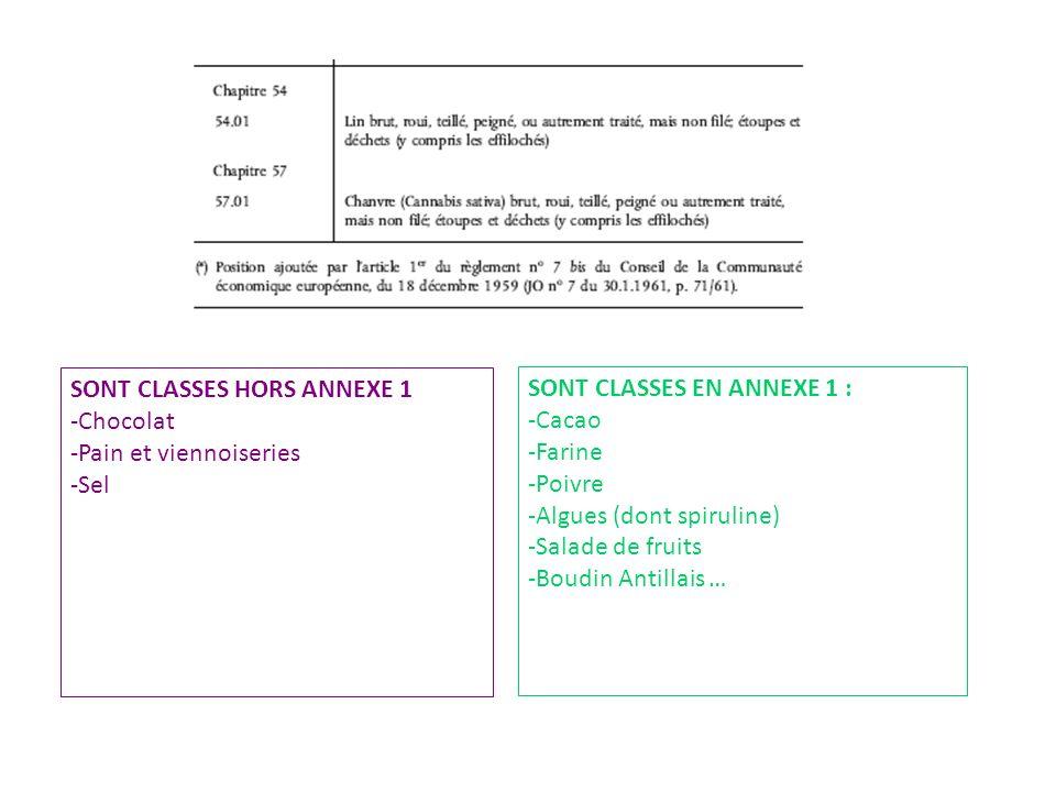 SONT CLASSES HORS ANNEXE 1 -Chocolat -Pain et viennoiseries -Sel SONT CLASSES EN ANNEXE 1 : -Cacao -Farine -Poivre -Algues (dont spiruline) -Salade de