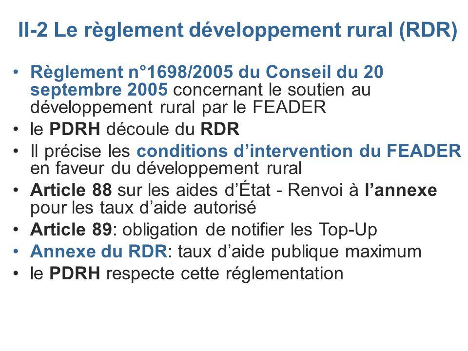 II-2 Le règlement développement rural (RDR) Règlement n°1698/2005 du Conseil du 20 septembre 2005 concernant le soutien au développement rural par le
