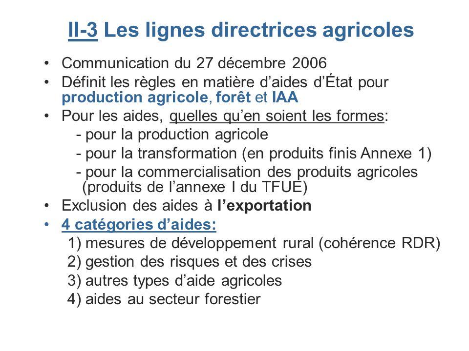 II-3 Les lignes directrices agricoles Communication du 27 décembre 2006 Définit les règles en matière daides dÉtat pour production agricole, forêt et