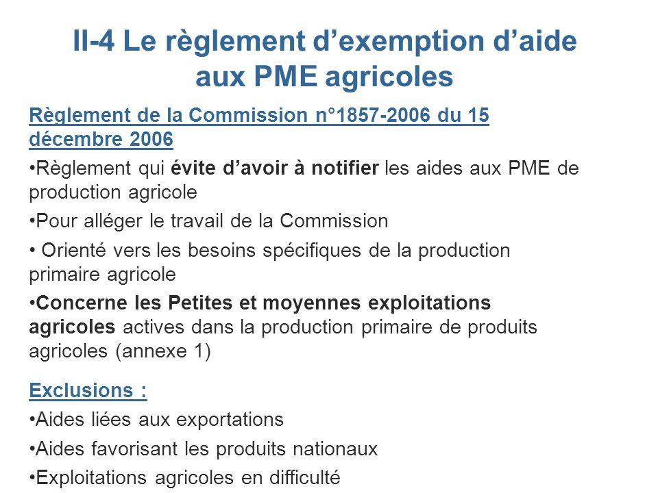 II-4 Le règlement dexemption daide aux PME agricoles Règlement de la Commission n°1857-2006 du 15 décembre 2006 Règlement qui évite davoir à notifier