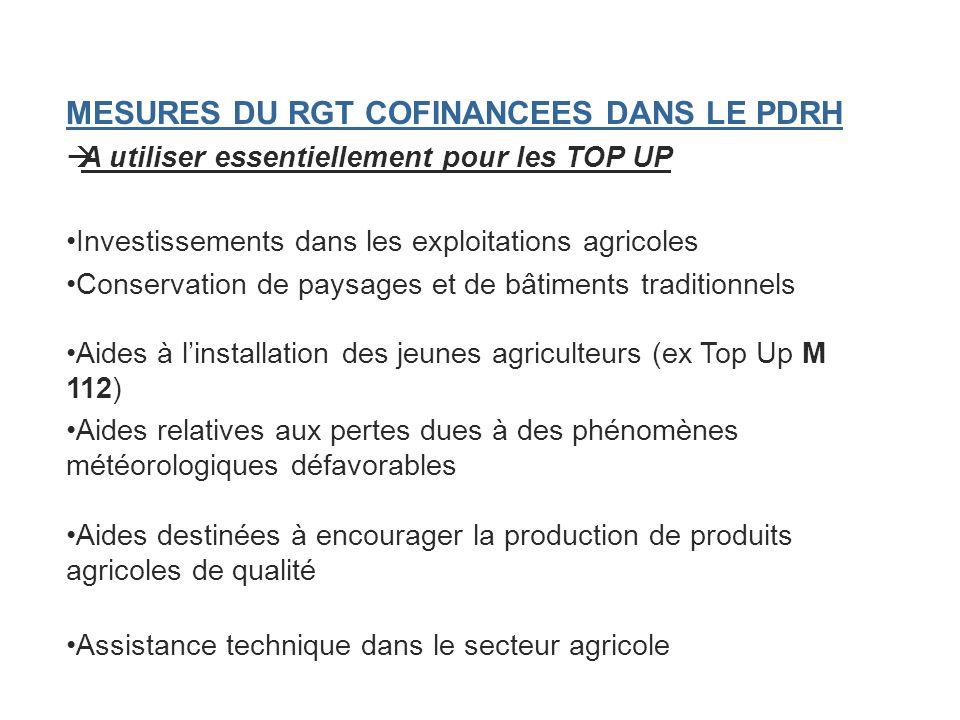 MESURES DU RGT COFINANCEES DANS LE PDRH A utiliser essentiellement pour les TOP UP Investissements dans les exploitations agricoles Conservation de pa