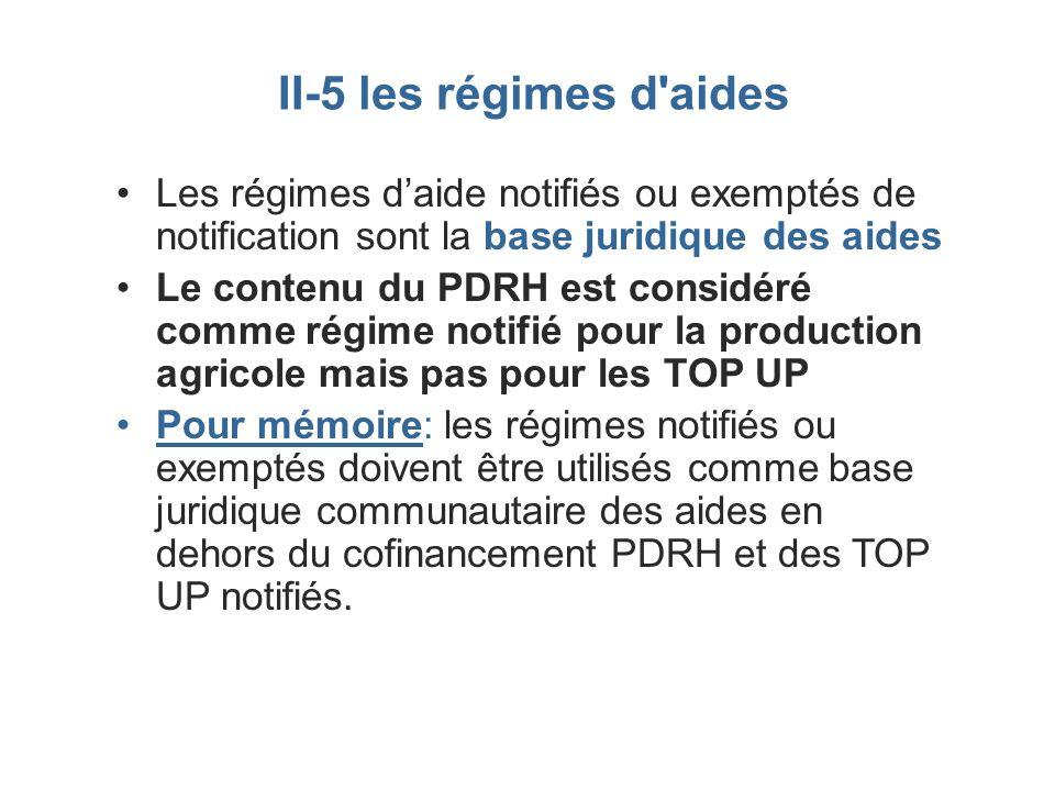 II-5 les régimes d'aides Les régimes daide notifiés ou exemptés de notification sont la base juridique des aides Le contenu du PDRH est considéré comm