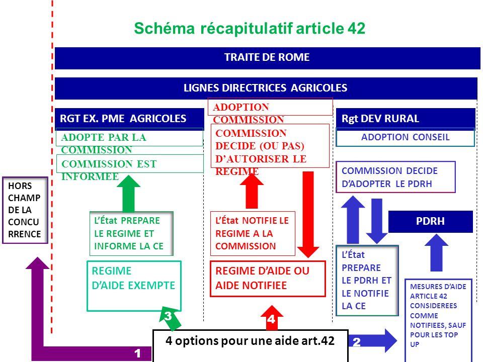 TRAITE DE ROME LIGNES DIRECTRICES AGRICOLES RGT EX. PME AGRICOLES REGIME DAIDE EXEMPTE REGIME DAIDE OU AIDE NOTIFIEE Rgt DEV RURAL MESURES DAIDE ARTIC