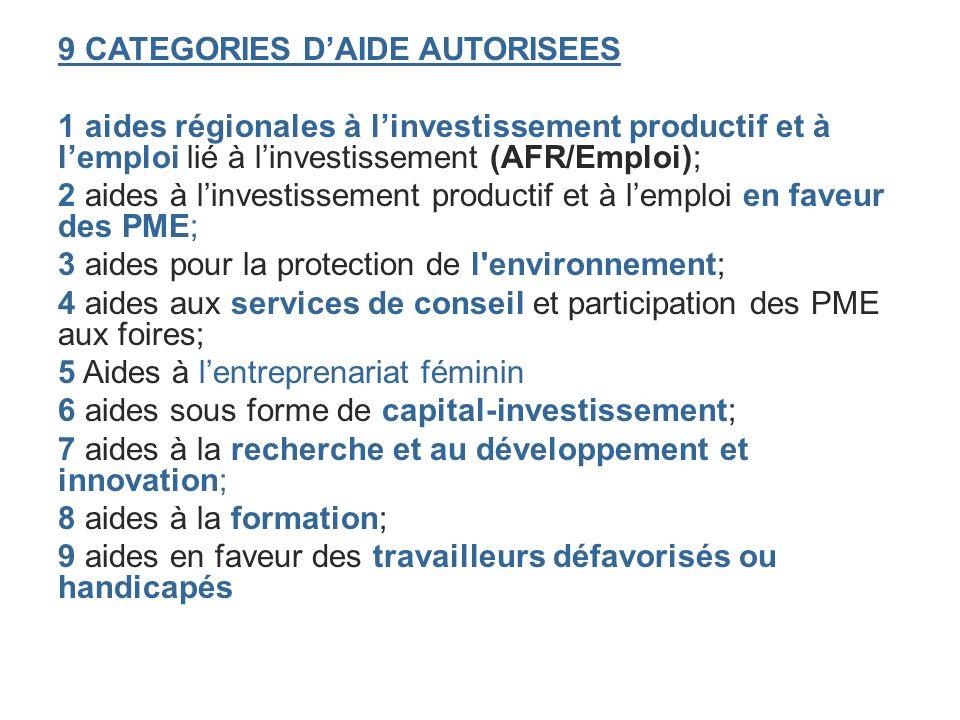 9 CATEGORIES DAIDE AUTORISEES 1 aides régionales à linvestissement productif et à lemploi lié à linvestissement (AFR/Emploi); 2 aides à linvestissemen