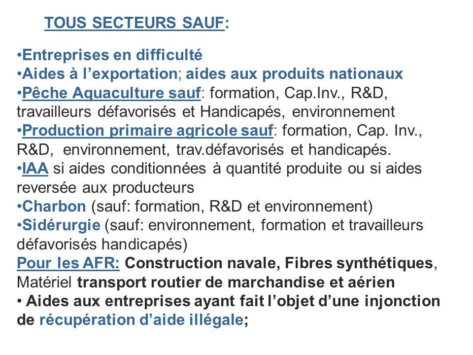 TOUS SECTEURS SAUF: Entreprises en difficulté Aides à lexportation; aides aux produits nationaux Pêche Aquaculture sauf: formation, Cap.Inv., R&D, tra