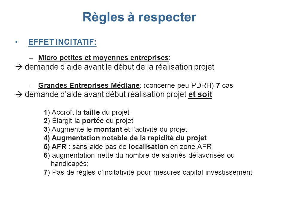 EFFET INCITATIF: –Micro petites et moyennes entreprises: demande daide avant le début de la réalisation projet –Grandes Entreprises Médiane: (concerne