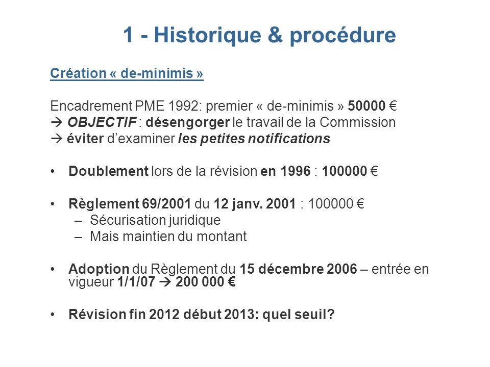 Création « de-minimis » Encadrement PME 1992: premier « de-minimis » 50000 OBJECTIF : désengorger le travail de la Commission éviter dexaminer les pet