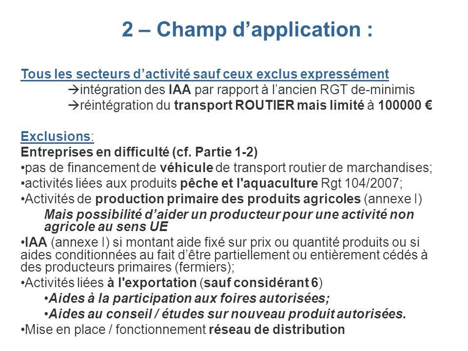 2 – Champ dapplication : Tous les secteurs dactivité sauf ceux exclus expressément intégration des IAA par rapport à lancien RGT de-minimis réintégrat