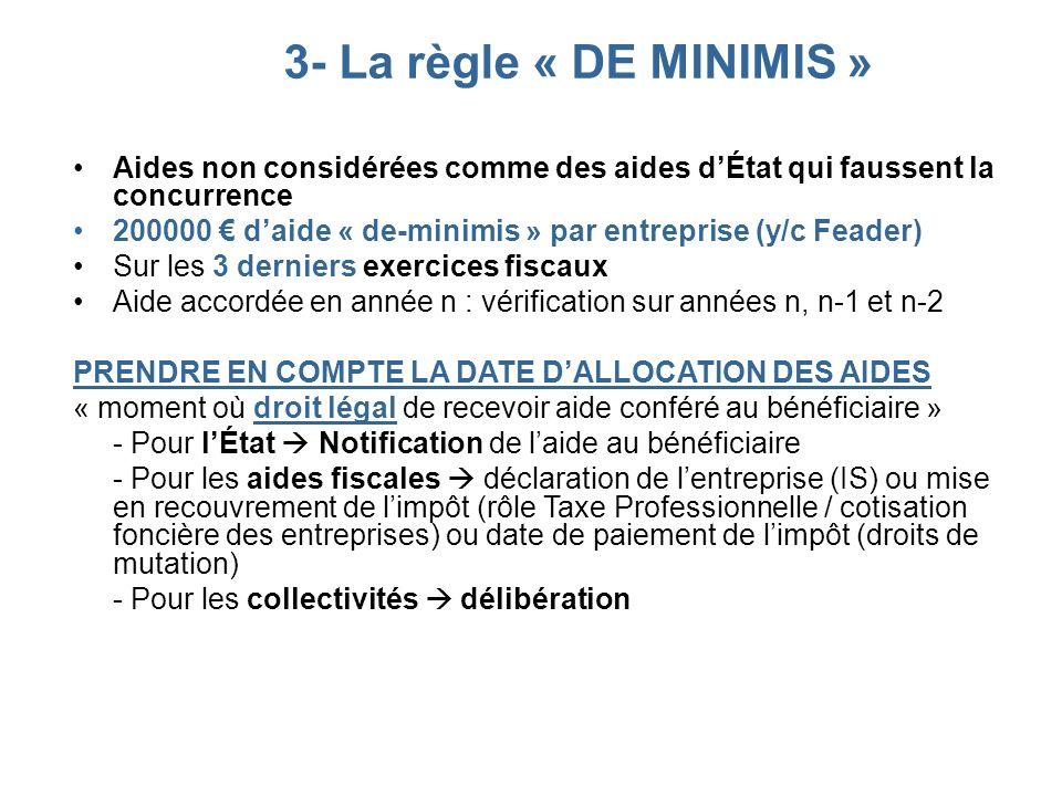 3- La règle « DE MINIMIS » Aides non considérées comme des aides dÉtat qui faussent la concurrence 200000 daide « de-minimis » par entreprise (y/c Fea
