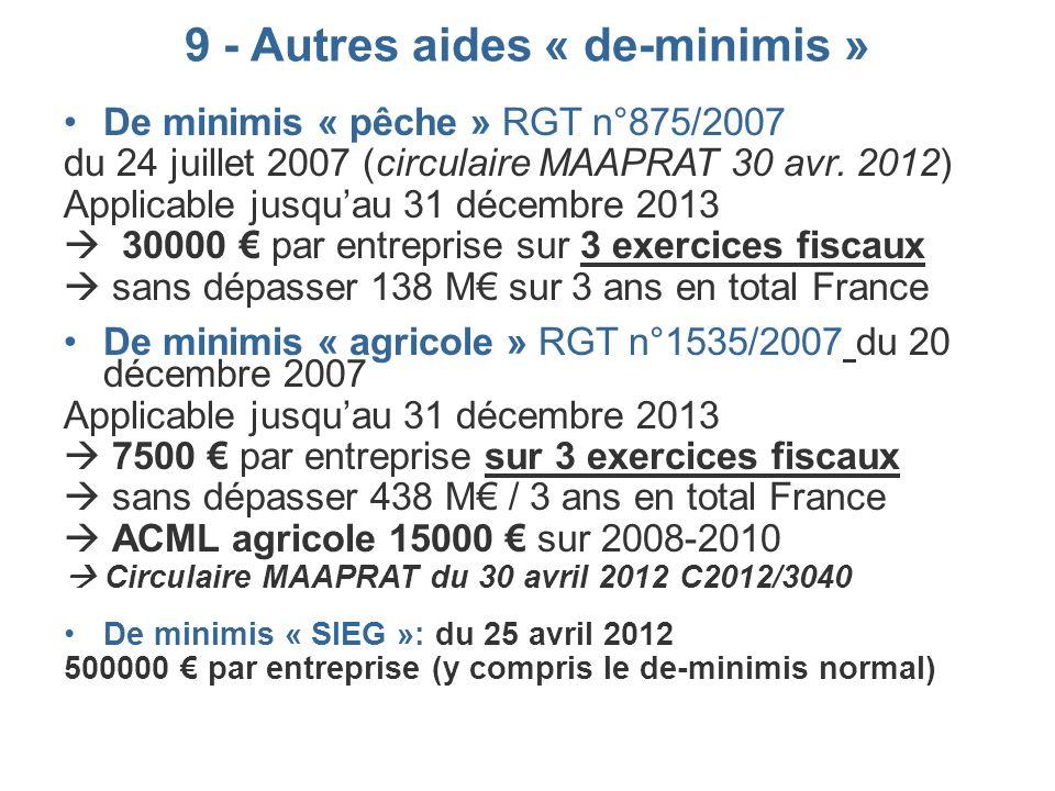 9 - Autres aides « de-minimis » De minimis « pêche » RGT n°875/2007 du 24 juillet 2007 (circulaire MAAPRAT 30 avr. 2012) Applicable jusquau 31 décembr