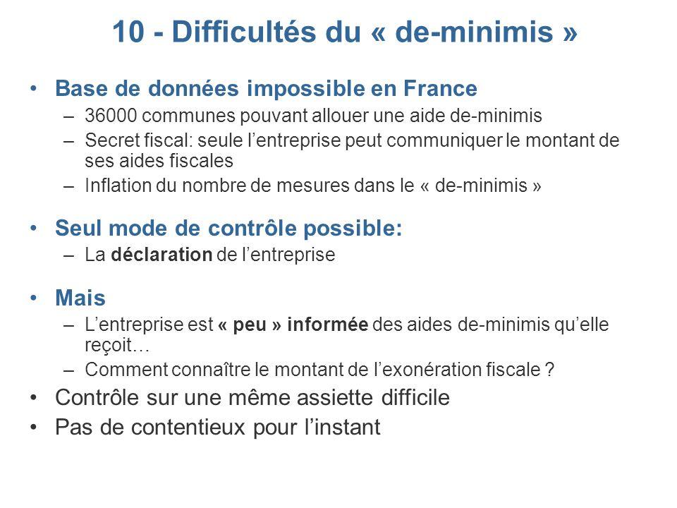 10 - Difficultés du « de-minimis » Base de données impossible en France –36000 communes pouvant allouer une aide de-minimis –Secret fiscal: seule lent