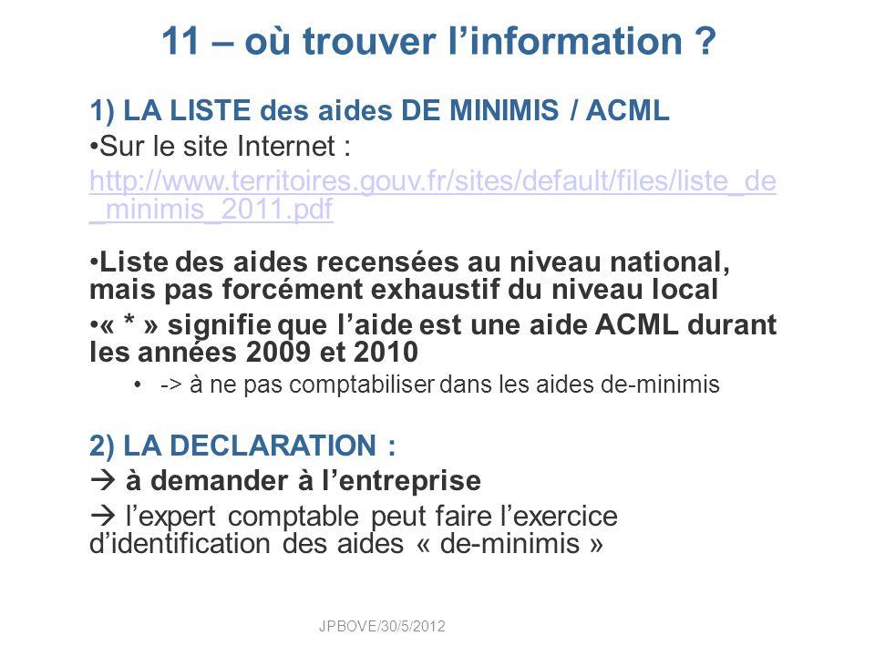 11 – où trouver linformation ? 1) LA LISTE des aides DE MINIMIS / ACML Sur le site Internet : http://www.territoires.gouv.fr/sites/default/files/liste