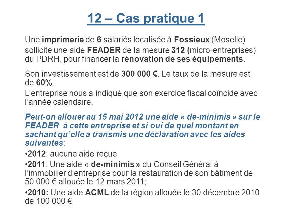 12 – Cas pratique 1 Une imprimerie de 6 salariés localisée à Fossieux (Moselle) sollicite une aide FEADER de la mesure 312 (micro-entreprises) du PDRH