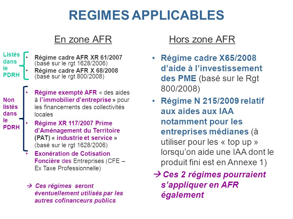 Régime cadre AFR XR 61/2007 (basé sur le rgt 1628/2006) Régime cadre AFR X 68/2008 (basé sur le rgt 800/2008) Régime exempté AFR « des aides à limmobi