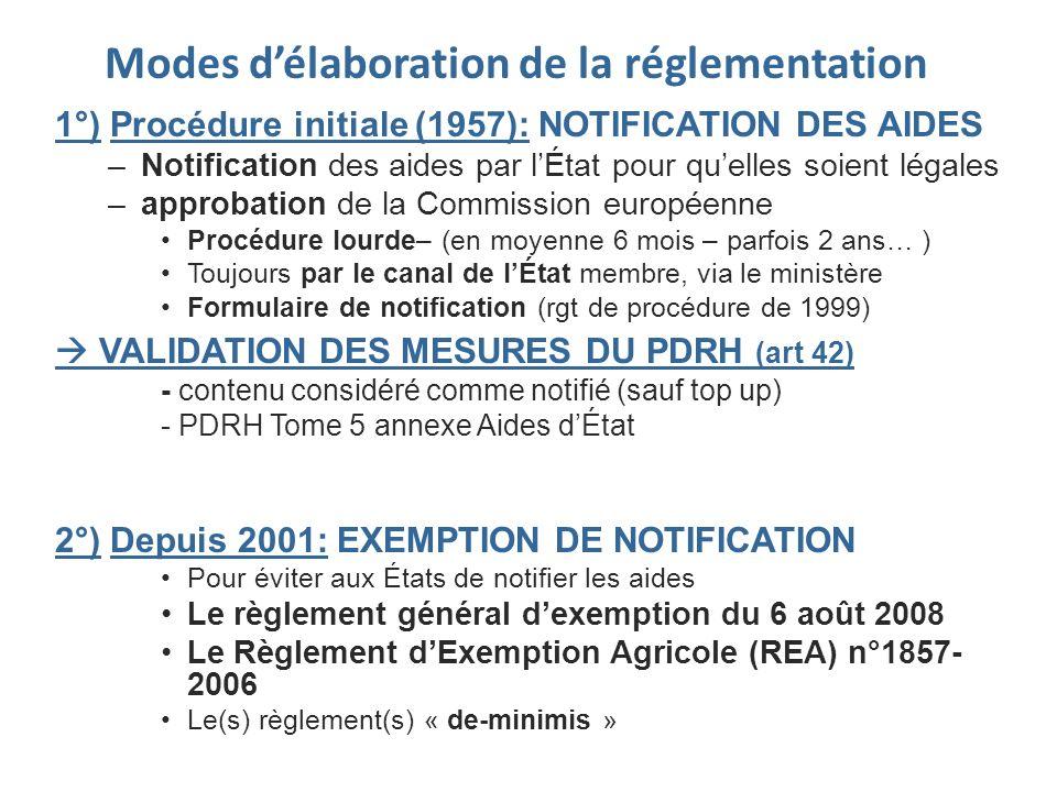 Modes délaboration de la réglementation 1°) Procédure initiale (1957): NOTIFICATION DES AIDES –Notification des aides par lÉtat pour quelles soient lé