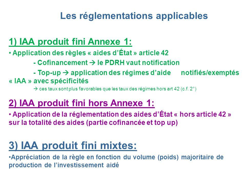 Les réglementations applicables 1) IAA produit fini Annexe 1: Application des règles « aides dÉtat » article 42 - Cofinancement le PDRH vaut notificat