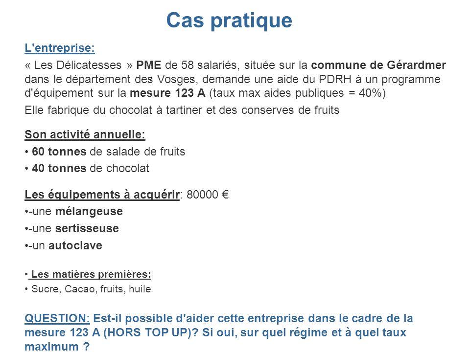 Cas pratique L'entreprise: « Les Délicatesses » PME de 58 salariés, située sur la commune de Gérardmer dans le département des Vosges, demande une aid