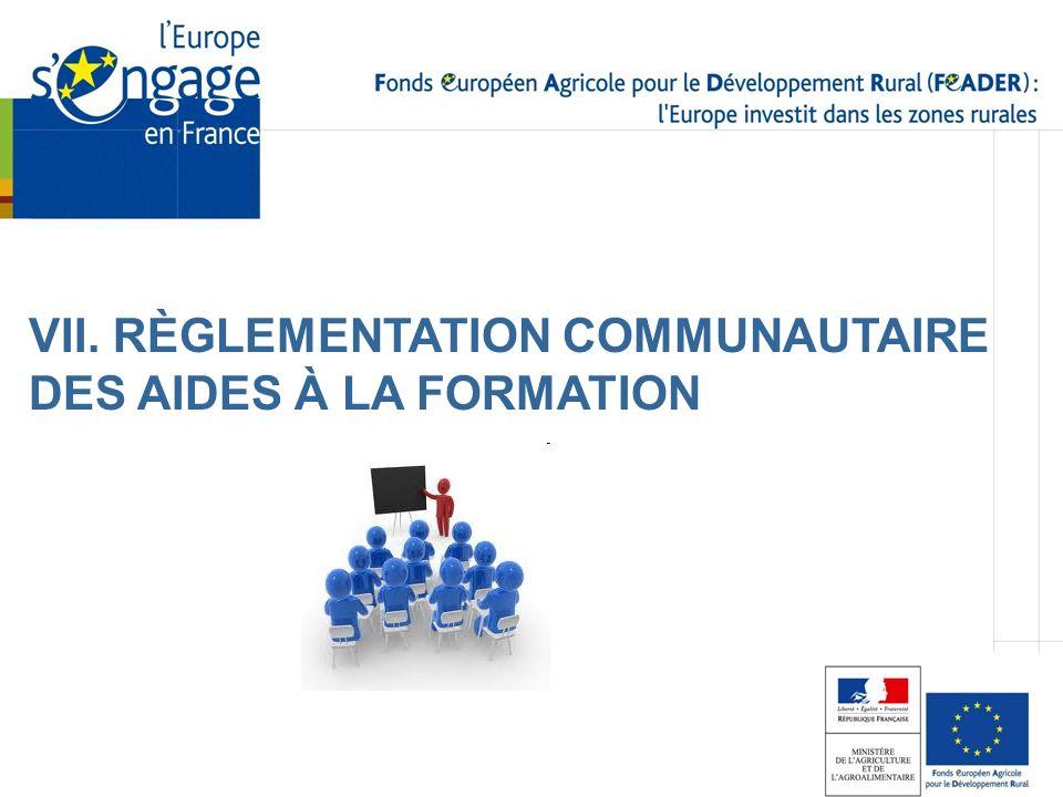 VII. RÈGLEMENTATION COMMUNAUTAIRE DES AIDES À LA FORMATION