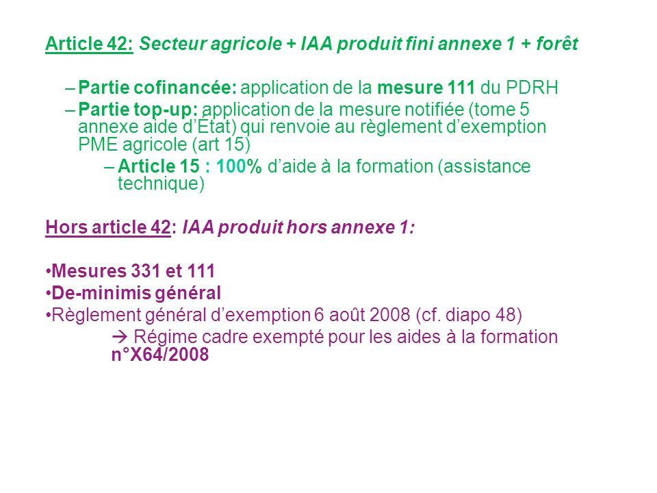 Article 42: Secteur agricole + IAA produit fini annexe 1 + forêt –Partie cofinancée: application de la mesure 111 du PDRH –Partie top-up: application