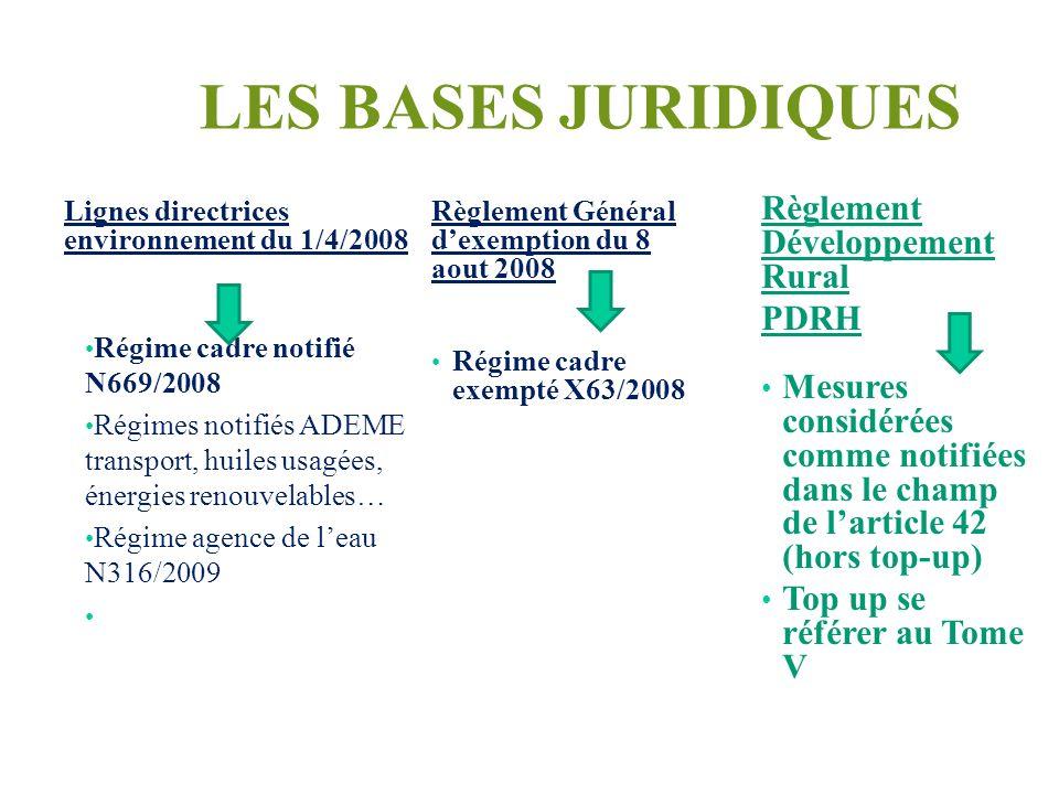 LES BASES JURIDIQUES Lignes directrices environnement du 1/4/2008 Régime cadre notifié N669/2008 Régimes notifiés ADEME transport, huiles usagées, éne