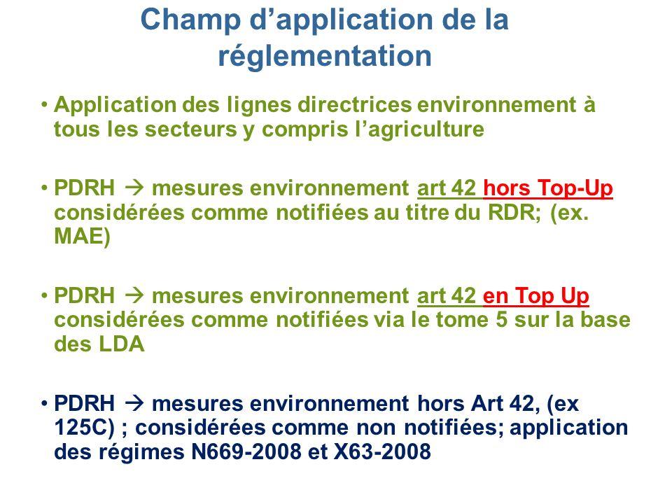 Champ dapplication de la réglementation Application des lignes directrices environnement à tous les secteurs y compris lagriculture PDRH mesures envir