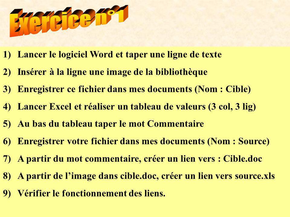 1)Lancer le logiciel Word et taper une ligne de texte 2)Insérer à la ligne une image de la bibliothèque 3)Enregistrer ce fichier dans mes documents (N