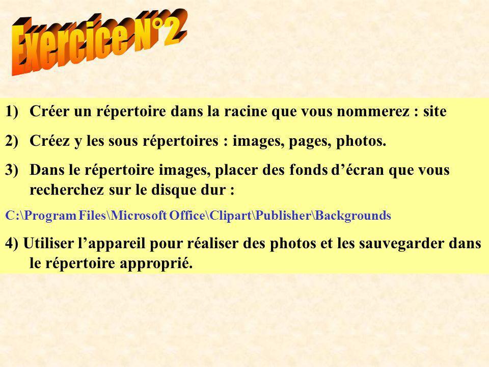 1)Créer un répertoire dans la racine que vous nommerez : site 2)Créez y les sous répertoires : images, pages, photos. 3)Dans le répertoire images, pla