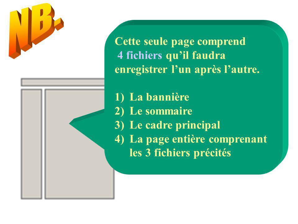 Cette seule page comprend 4 fichiers quil faudra enregistrer lun après lautre. 1)La bannière 2)Le sommaire 3)Le cadre principal 4)La page entière comp