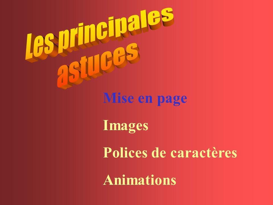 Mise en page Images Polices de caractères Animations